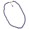 Dark Blue with Aventurina Authentic Murano Glass Beaded Necklace 26 Inches with 2 Inch Extender, Gold Tone Clasp