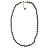 Aqua Green with Aventurina Authentic Murano Glass Beaded Necklace 26 Inches with 2 Inch Extender, Gold Tone Clasp