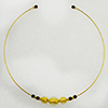 Murano Glass Choker, Memory Wire Gold Tone, 3 Beads Clear with Gold Foil