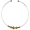 Murano Glass Choker, Memory Wire Silver Tone, 3 Beads Gold Foil