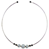 Murano Glass Choker, Memory Wire Silver Tone, 3 Beads Alessandrite with Silver Foil