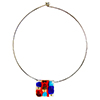 Murano Glass Choker, Stainless Steel with Abstract Millefiori Square