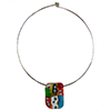 Murano Glass Choker, Stainless Steel with Abstract Millefiori Rectangle in Opaque
