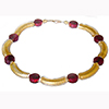 Red and Gold Murano Glass Curved Tube Necklace 18 Inches