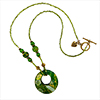 Green Fused Pendant Necklace 22 Inches, Authentic Murano Glass with Gold Plated Pewter Toggle Clasp