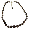 Black Aventurina Graduated Necklace 18 Inches w/ 2 Inch Extender, Gold Tone Clasp Authentic Murano Glass Beaded