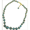 Celeste Blue Aventurina Graduated Necklace 18 Inches w/ 2 Inch Extender, Gold Tone Clasp Authentic Murano Glass Beaded