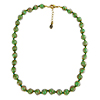 Opaque Green Murano Glass Necklace 16 Inches w/ 1 1/4  Inch Extender, Gold Tone Clasp and Murano Tag