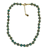 Dark Aqua Green Murano Glass Necklace 16 Inches w/ 1 1/4  Inch Extender, Gold Tone Clasp and Murano Tag