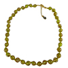 Transparent Green Murano Glass Necklace 16 Inches w/ 1 1/4  Inch Extender, Silver Tone Clasp and Murano Tag