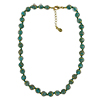 Transparent Verde Marino Murano Glass Necklace 16 Inches w/ 1 1/4  Inch Extender, Gold Tone Clasp and Murano Tag