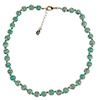 Dark Aqua Green Murano Glass Necklace 16 Inches w/ 1 1/4  Inch Extender, Silver Tone Clasp and Murano Tag
