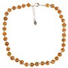 Transparent Topaz Murano Glass Necklace 16 Inches w/ 1 1/4  Inch Extender, Silver Tone Clasp and Murano Tag
