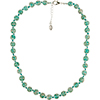 Transparent Aqua Green Murano Glass Necklace 16 Inches w/ 1 1/4  Inch Extender, Silver Tone Clasp and Murano Tag