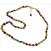 Multi Colors Authentic Murano Glass Bead Necklace Red String 26 Inches with 2 Inch Extender, Gold Tone Clasp
