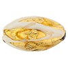 Murano Glass Bead Barocco Oval 32mm Exterior Gold White