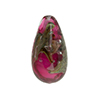 Murano Glass Bead, Base Rubino Pink with Aventurina and Calcedonia Teardrop 23x13