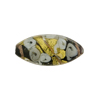 Murano Glass Bead Bed of Roses Oval 23mm Black & Gray