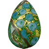Murano Glass Bead Bed of Roses Exterior Gold Foil Flat Teardrop 40mm Aquamarine