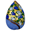 Murano Glass Bead Bed of Roses Exterior Gold Foil Flat Teardrop 40mm Opaque Blue