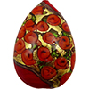Murano Glass Bead Bed of Roses Exterior Gold Foil Flat Teardrop 40mm Opaque Red