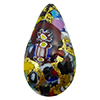 KLIMT Multi Mosaics with Black Base & Exterior 24kt Gold Foil Teardrop 23mm Murano Glass Bead