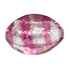 Rubino, Pink Striped Silver Foil Oval Bead 22X14mm Murano Glass