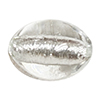 Clear Silver Foil Oval Bead 20X15mm Murano Glass