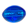 Aqua Silver Foil Oval Bead 20X15mm Murano Glass