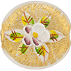 Murano Glass Bead  Handpainted Porcelain Flowers 40MM Clear Gold
