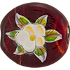 Murano Glass Bead  Handpainted Porcelain Flowers 40MM Red Gold