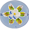 Murano Glass Bead Hanpainted Porcelain Flowers Oval Transparent 40mm Blue