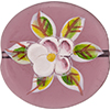 Murano Glass Bead Hanpainted Porcelain Flowers Oval Transparent 40mm Amethyst