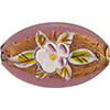 Murano Glass Bead Oval Handpainted Porcelain Flowers 30mm Amethyst Gold