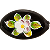 Murano Glass Bead Handpainted Porcelain Flowers Oval Fl 30mm Transparent Black