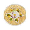 Murano Glass Bead  Handpainted Porcelain Flowers 25mm Clear Gold