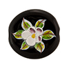 Murano Glass Bead Porcelain Flowers Flat Round 25mm Transparent Black
