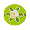 Murano Glass Bead Porcelain Flowers Flat Round 25mm Transparent Peridot