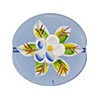 Murano Glass Bead Porcelain Flowers Flat Round 25mm Transparent Blue
