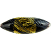Reticello Murano Glass Oval Bead, 40x13mm, Opaque Black