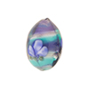Tricolored Oval Blue and Aqua Layers with Flower Motif 20mm Murano Glass Bead
