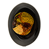 Murano Glass Bead Oval 30mm Flat, Black VanGogh, 24kt Gold Foil Topaz, Rubino