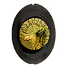 Murano Glass Bead Oval 30mm Flat, Black VanGogh, 24kt Gold Foil Amethyst