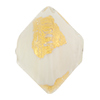 Vicenza Opaque White w/Gold Foil Murano Glass Bead, 22mm Bicone