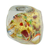Gold Foil, Cluseau Multi Color Murano Glass Pebble Bead 25mm