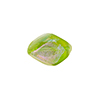 Dichroic Murano Glass Bead, Peridot Pebble, 15mm