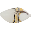 Venetian Glass Beads Feather Pebble 40mm Gold Foil Exterior, Gray and White