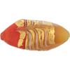 Venetian Glass Beads Feather Pebble 40mm Gold Foil Exterior, Coral Yellow