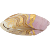 Venetian Glass Beads Feather Pebble 40mm Gold Foil Exterior, Lilac White