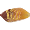 Venetian Glass Beads Feather Pebble 40mm Gold Foil Exterior, Maroon Yellow
